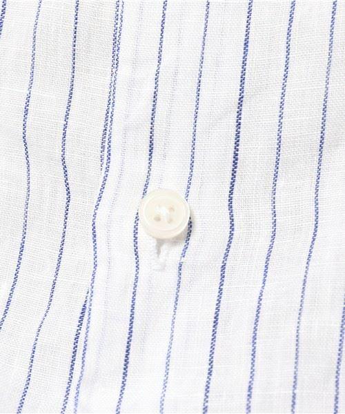 ストライプリネンシャツの素材アップ画像