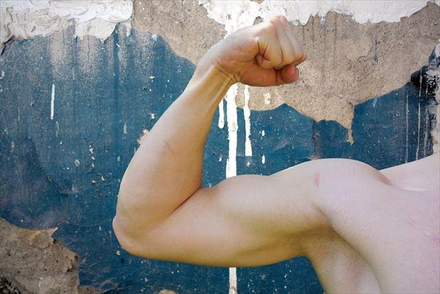 プロテインによって付いた男性の筋肉の画像