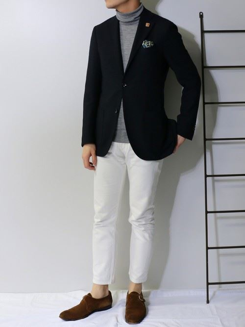 イタリア親父風モテる男の白パンツファッションコーディネート画像イメージ